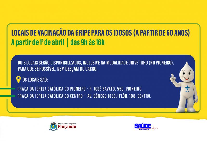 Confira os locais de vacinação contra a gripe para idosos a partir de 1º de abril