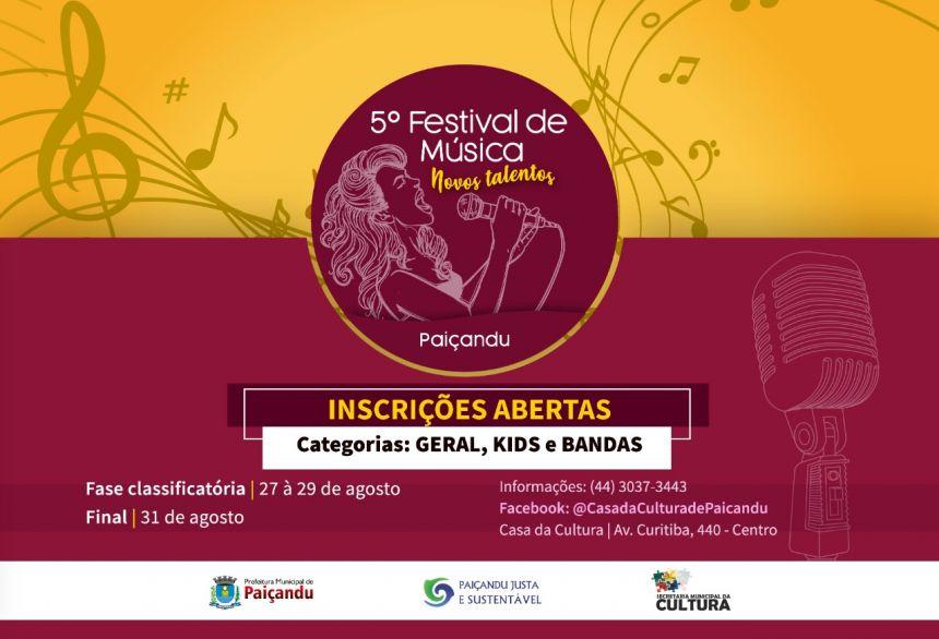 Estão abertas as inscrições para o 5º Festival de Música de Paiçandu