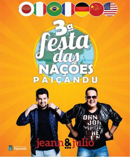 Jeann e Julio fará show na 3ª Festa das Nações