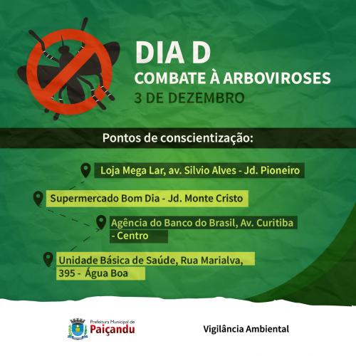 Dia 3 de dezembro acontecerá o dia D de combate as arboviroses