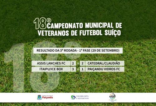 Resultado da 3ª rodada - 1ª fase do 18º Campeonato Municipal de Veteranos de Futebol Suíço