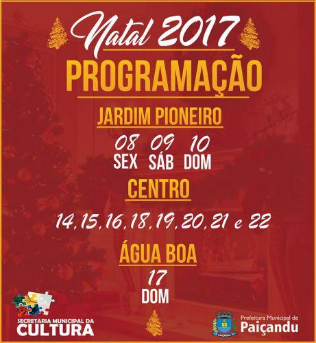 Prefeitura de Paiçandu apresenta a programação especial de Natal