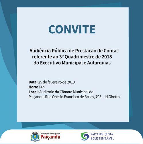 Convite para Audiência Pública do 3º Quadrimestre de 2018