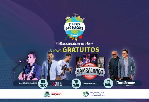 Shows que acontecerão na 5ª Festa das Nações de Paiçandu