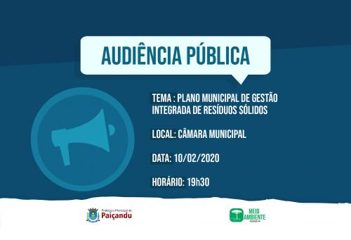 Convite   Audiência Pública sobre o Plano Municipal de Gestão Integrada de Resíduos Sólidos