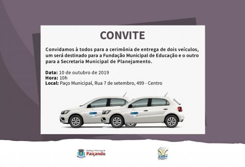 Convite | Entrega de dois veículos para o município