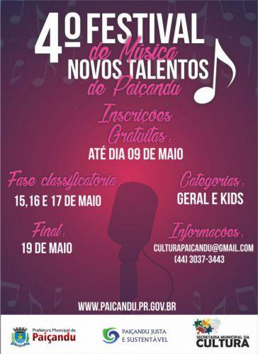 """Último dia para as inscrições do 4º Festival de Música - """"Novos Talentos"""""""