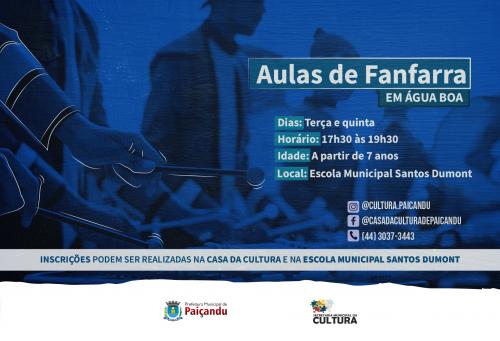 Inscrições abertas para as aulas de Fanfarra em Água Boa