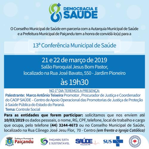 13ª Conferência Municipal de Saúde