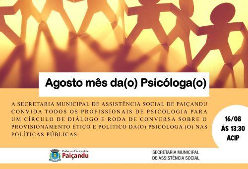 Agosto mês da (o) Psicólogo (o)