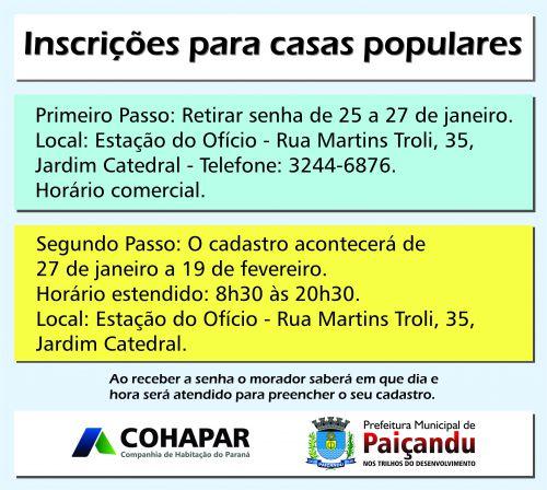 PREFEITURA E COHAPAR ABREM INSCRIÇÕES PARA CASAS POPULARES