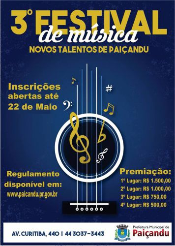Entramos nos últimos dias para Inscrições do 3° Festival de Música de Paiçandu-PR