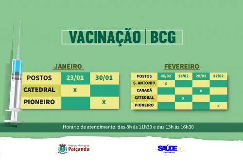 Cronograma da vacina BCG - Janeiro e Fevereiro de 2020