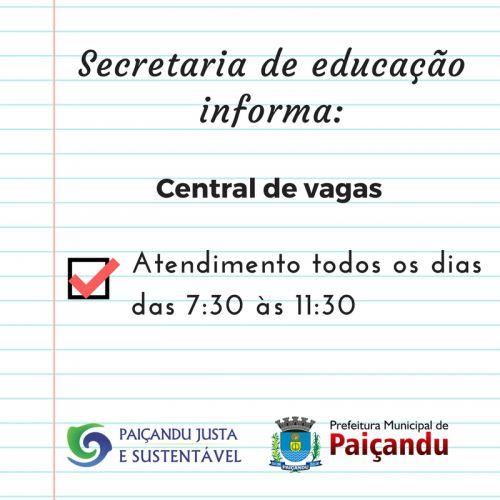 Secretaria de educação informa: