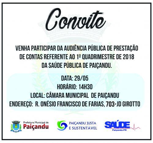 Convite: Audiência pública de prestação de contas da saúde pública de Paiçandu