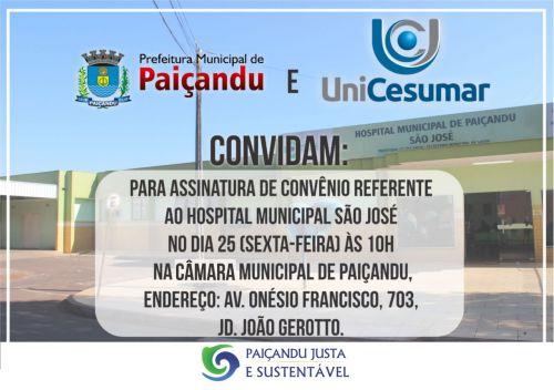 Prefeitura de Paiçandu e Unicesumar assinam convênio referente ao Hospital São José