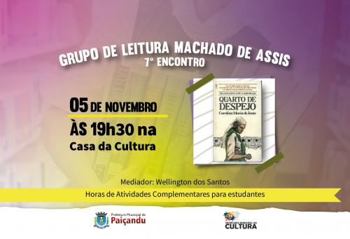 Convite   7º encontro do grupo de leitura Machado de Assis
