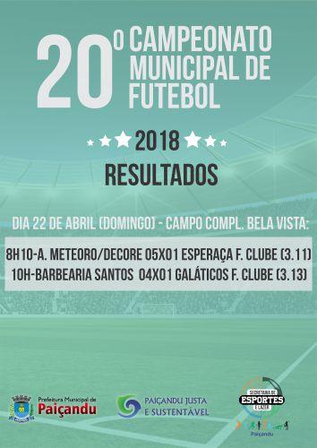 20º Campeonato Municipal de Futebol 2018