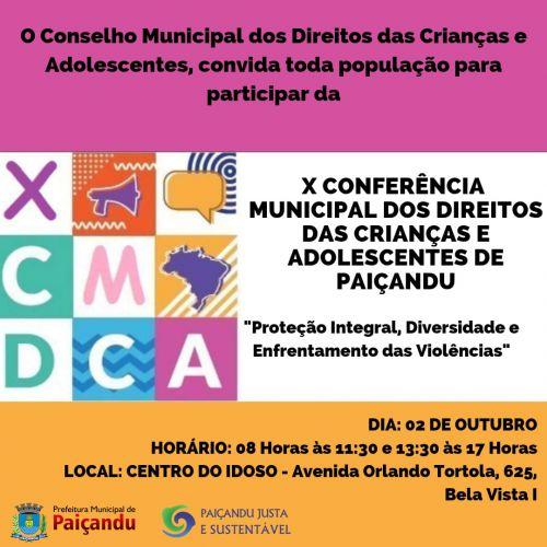 X Conferência municipal dos direitos da criança e do adolescente de Paiçandu