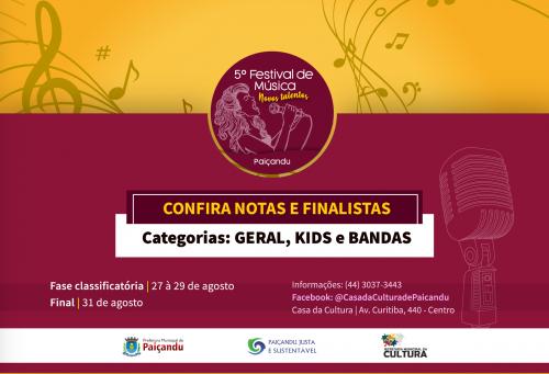 Confira as notas dos participantes e os finalistas do 5º Festival de Música - Novos Talentos