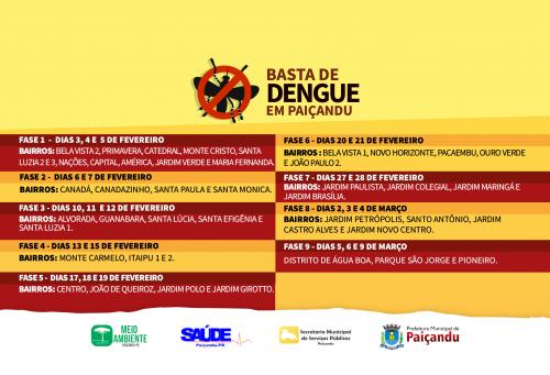 Basta de dengue em Paiçandu - Cronograma de limpeza