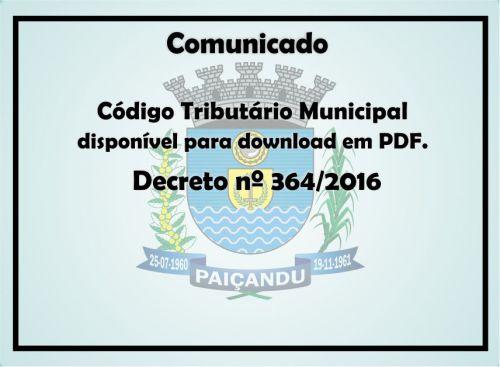 Comunicado: Decreto nº364/2016