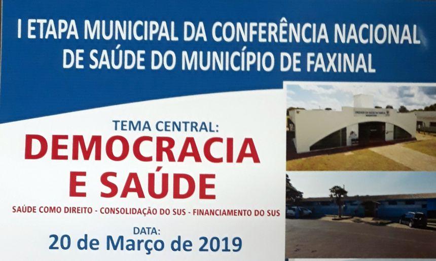 1ª Etapa da Conferência Nacional de Saúde do Município de Faxinal será dia 20 de março