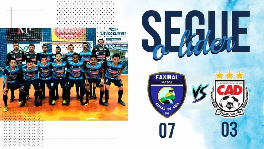 Futsal de Faxinal vence Guarapuava por 7 x 3 e segue líder no Campeonato Paranaense Série Prata
