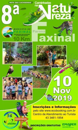 Faxinal terá 8ª Caminhada na Natureza, Circuito Rota das Cachoeiras, dia 10 de novembro