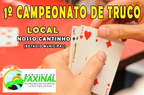 Campeonato de Truco de Faxinal tem a Semi-Finais e Final nesta sexta-feira, dia 26 de julho.
