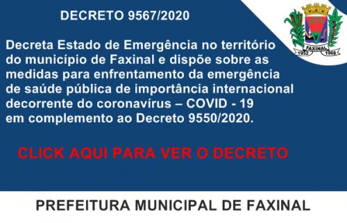 CORONAVÍRUS - Prefeitura decreta situação de emergência em Faxinal