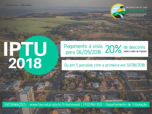 IPTU 2018 COM 20% de desconto