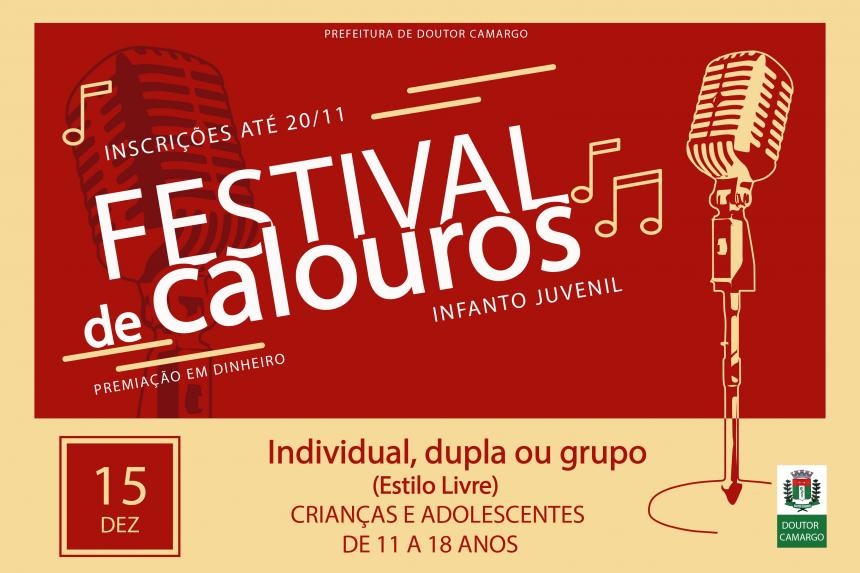 Festival de Calouros Infanto Juvenil de Dr. Camargo  dia 15 de Dezembro de 2019.