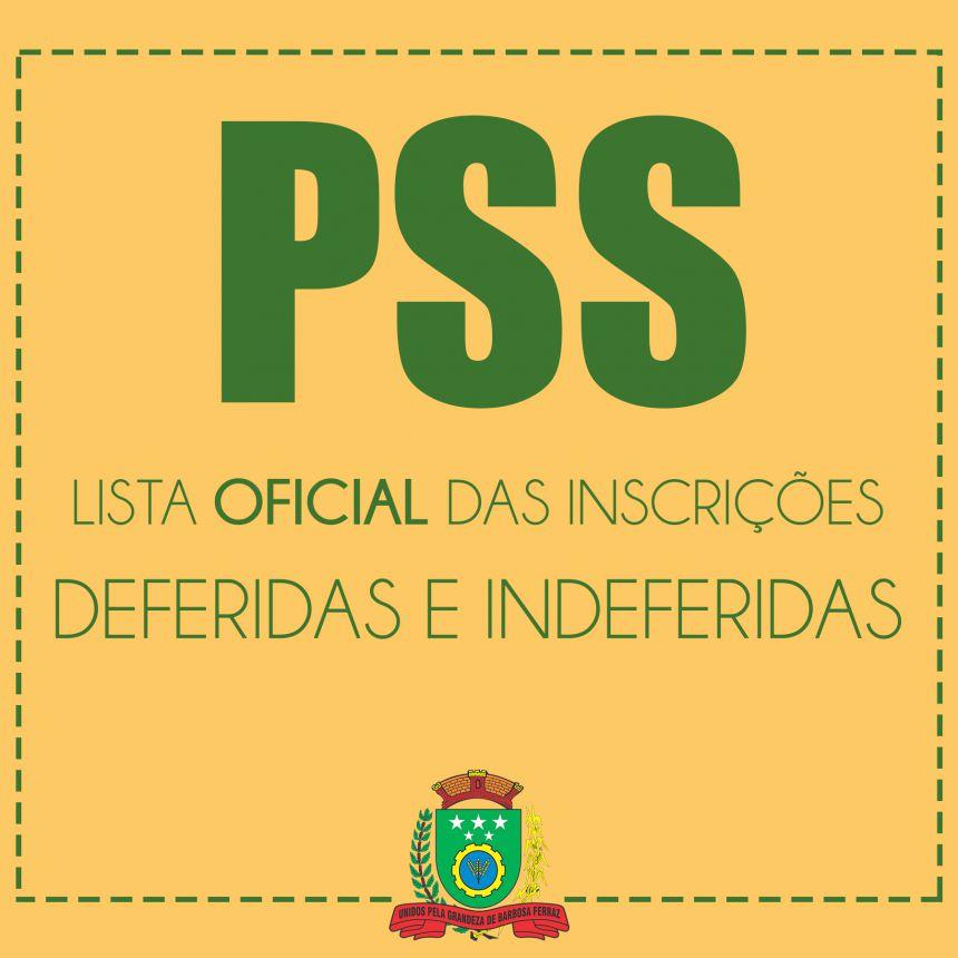 PSS - LISTA OFICIAL DAS INSCRIÇÕES