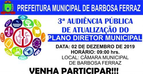 Convite 3ª Audiência Publica Plano Diretor 2019-2029