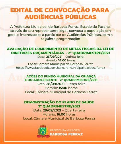 Edital de Convocação para Audiências Públicas