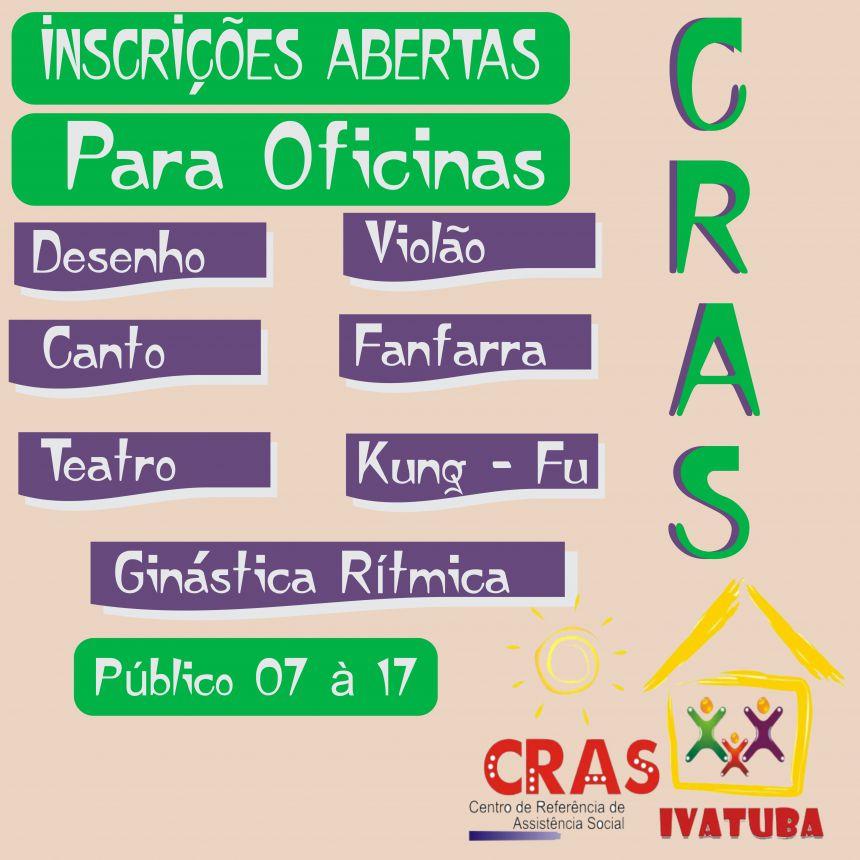 Inscrições abertas para oficinas do CRAS