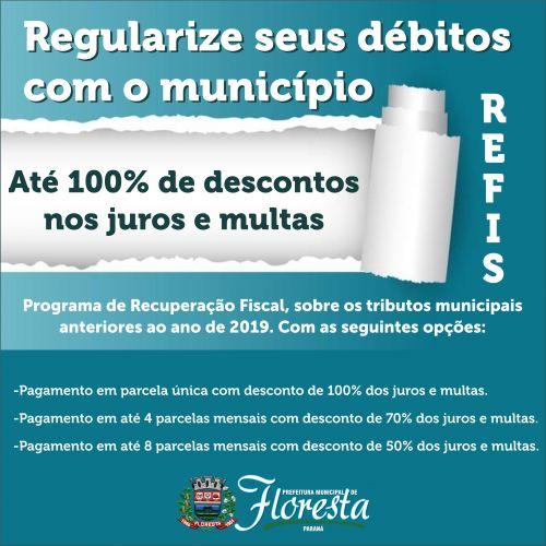 Prefeitura de Floresta inicia programa Refis com descontos que podem chegar a 100% dos juros e multa