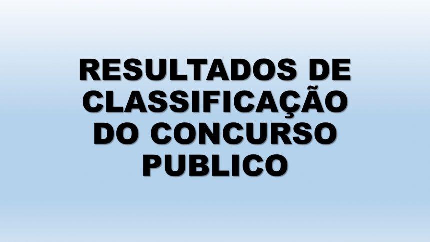 CLASSIFICAÇÃO DO CONCURSO PUBLICO