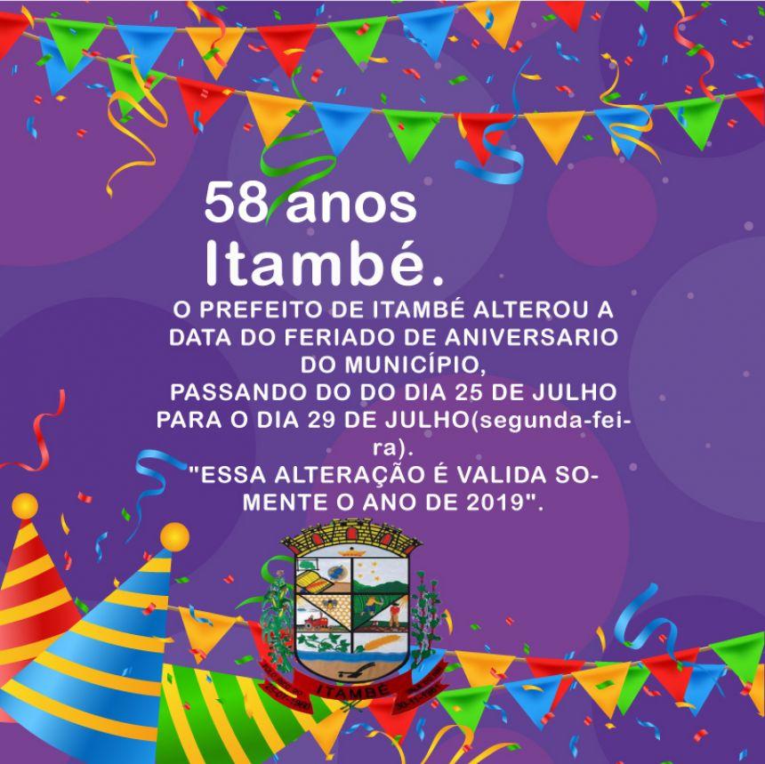 Alteração da data do aniversário de Itambe