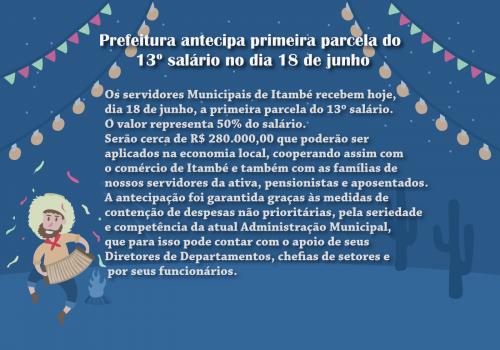 Prefeitura antecipa primeira parcela do 13º salário no dia 18 de junho