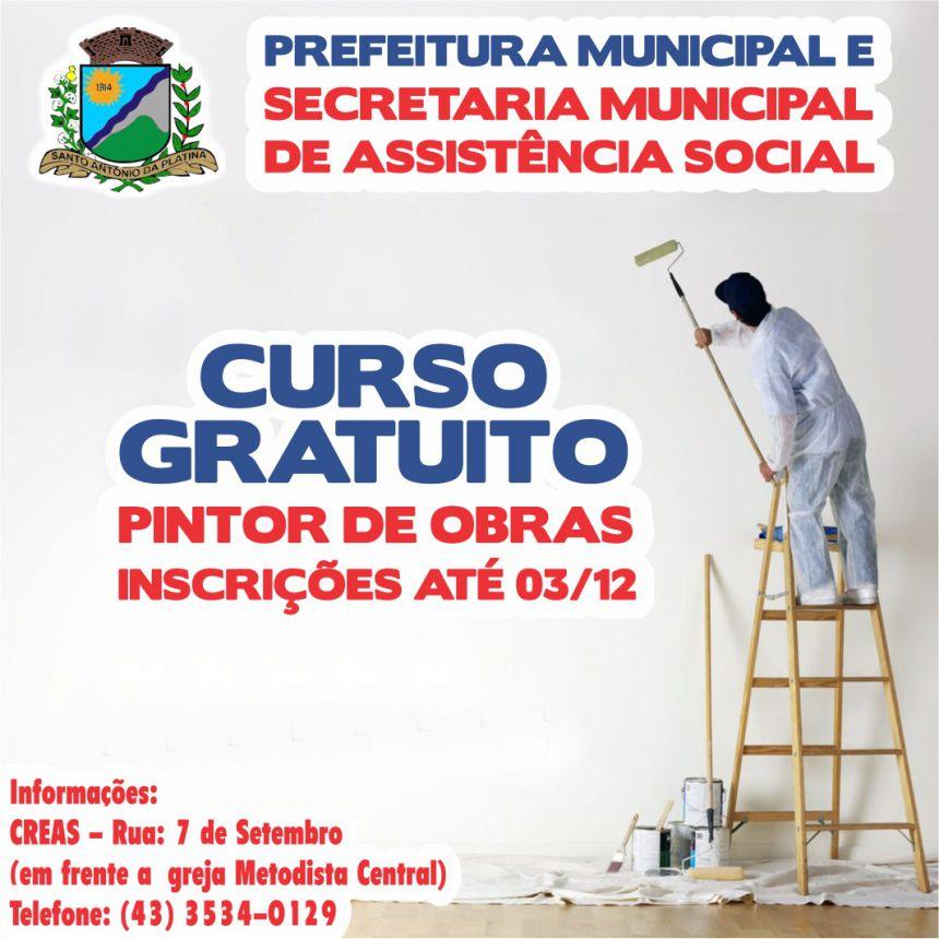 A Secretaria Municipal de Assistência Social oferece curso gratuito de Pintor de Obras.