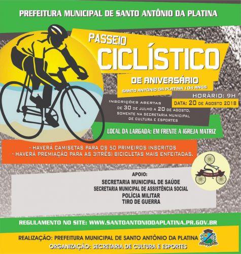 Passeio Ciclístico em comemoração ao Aniversário de Santo Antônio da Platina