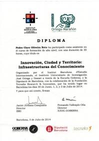 """Prefeito recebe Diploma curso de"""" INNOVACIÓN, CIUDAD Y TERRTORIO: INFRAESTRUCTURAS DEL CONOCIMIENTO"""""""