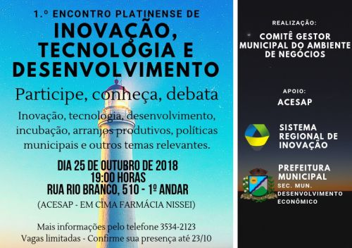 1.º ENCONTRO PLATINENSE DE INOVAÇÃO, TECNOLOGIA E DESENVOLVIMENTO