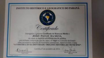 """O ensaísta platinense JOÃO PAULO DA SILVA, que ficou em primeiro lugar no Concurso de Ensaio """"A Construção da Identidade"""
