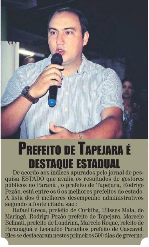Prefeito Rodrigo Pezão entre os melhores do Paraná