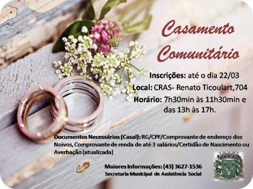 Casamento Comunitário - Inscrições