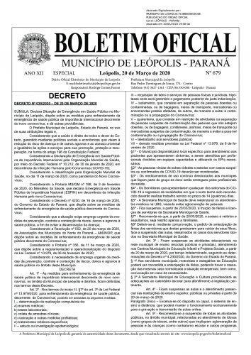 DECRETO ALTERADO - NOVO CORONAVÍRUS