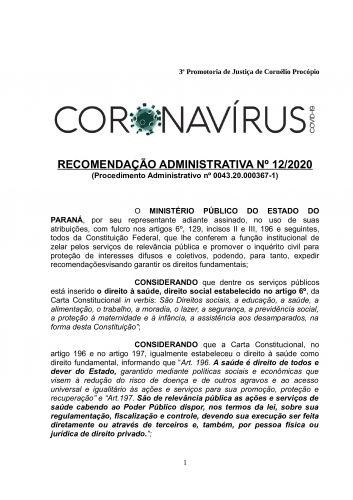 Recomendação Administrativa nº 12/2020 - Preços Abusivos